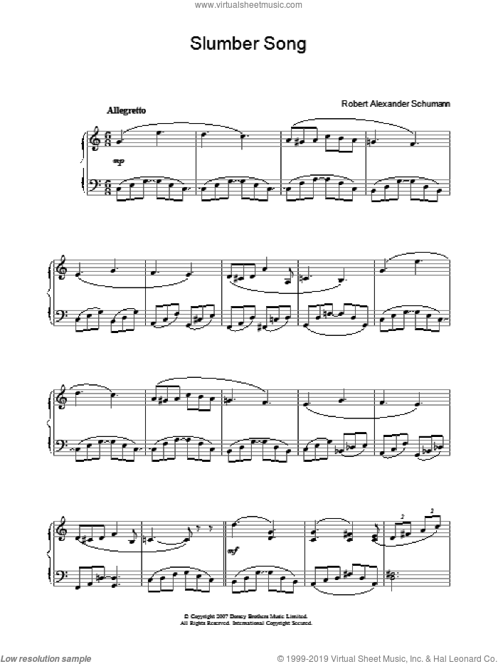 Schumann - Slumber Song sheet music for piano solo [PDF]