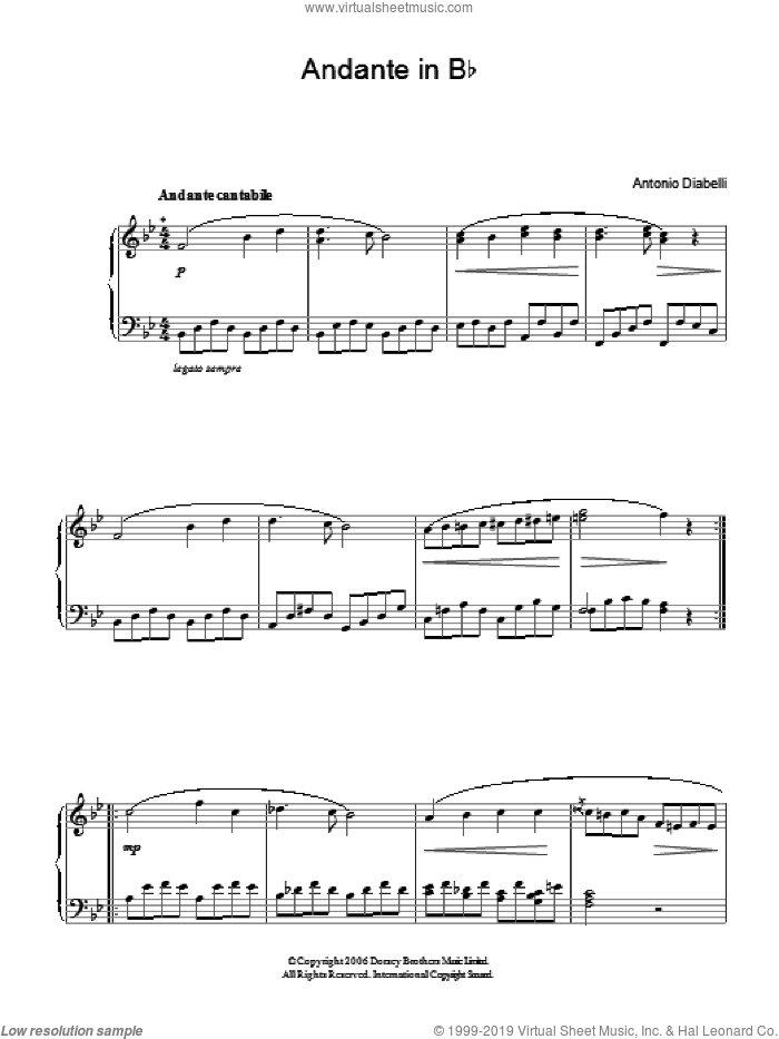 Andante In Bb sheet music for piano solo by Antonio Diabelli, classical score, easy. Score Image Preview.