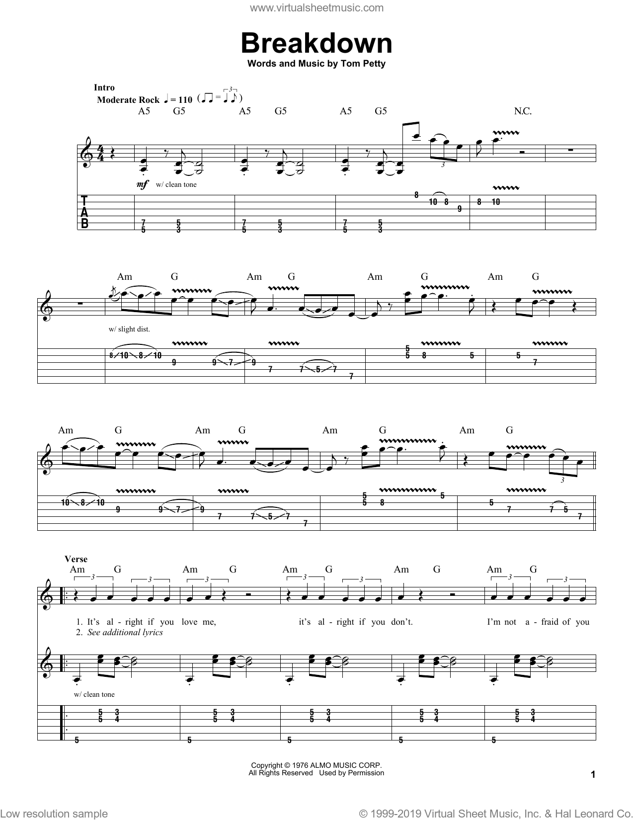Breakdown sheet music for guitar (tablature, play-along) by Tom Petty And The Heartbreakers and Tom Petty, intermediate skill level
