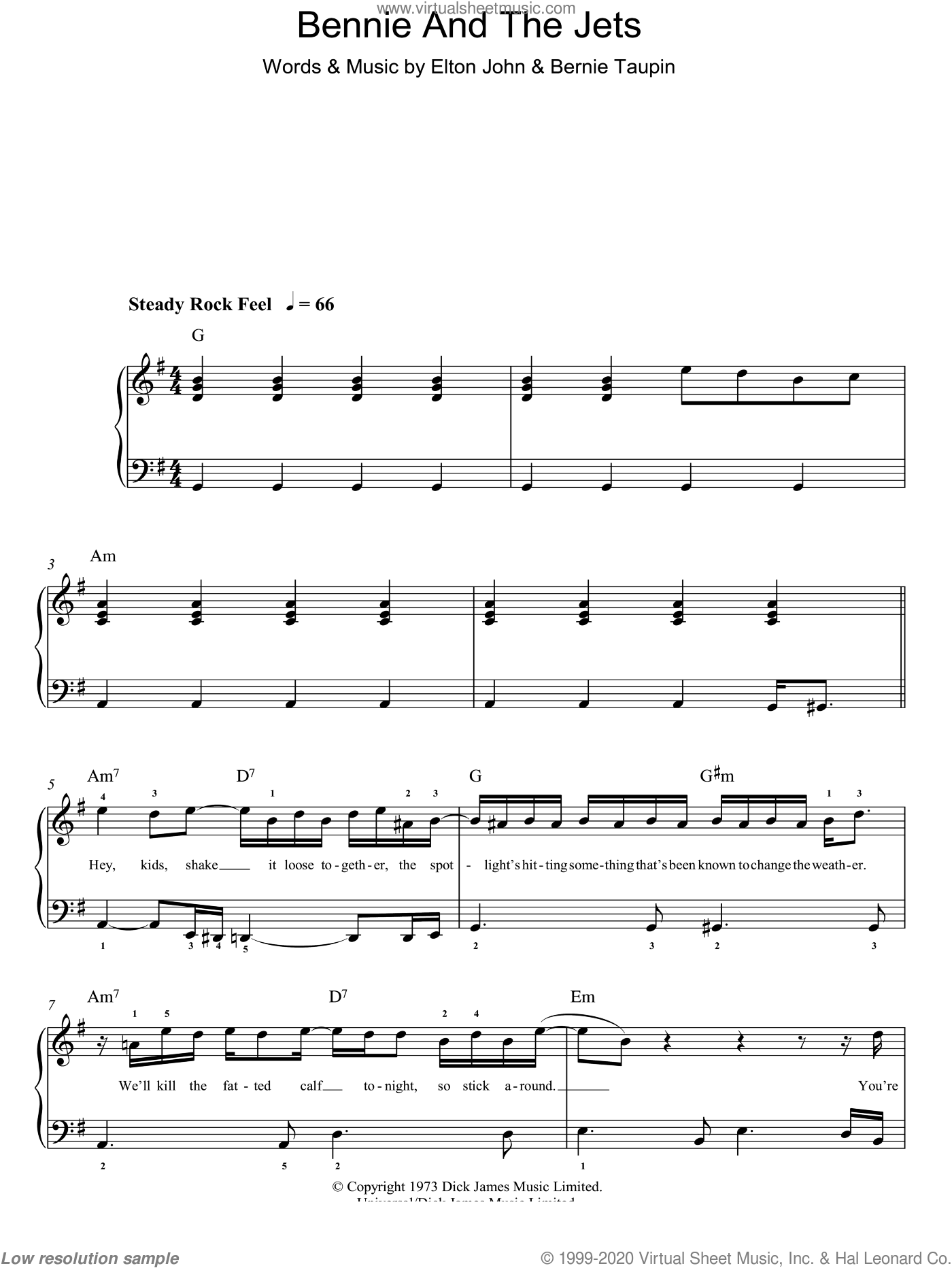 Bennie And The Jets sheet music for piano solo by Bernie Taupin and Elton John. Score Image Preview.
