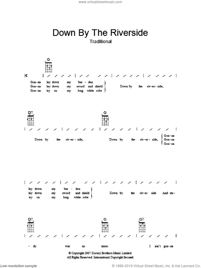 Down By The Riverside sheet music for guitar (chords). Score Image Preview.
