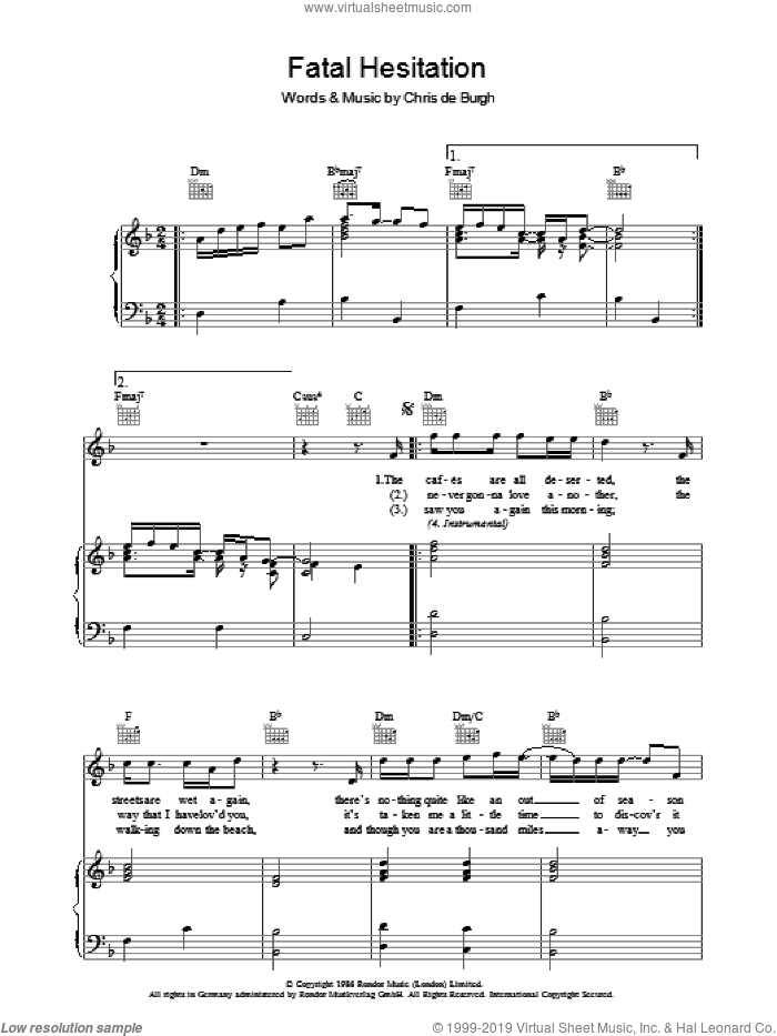 Fatal Hesitation sheet music for voice, piano or guitar by Chris de Burgh