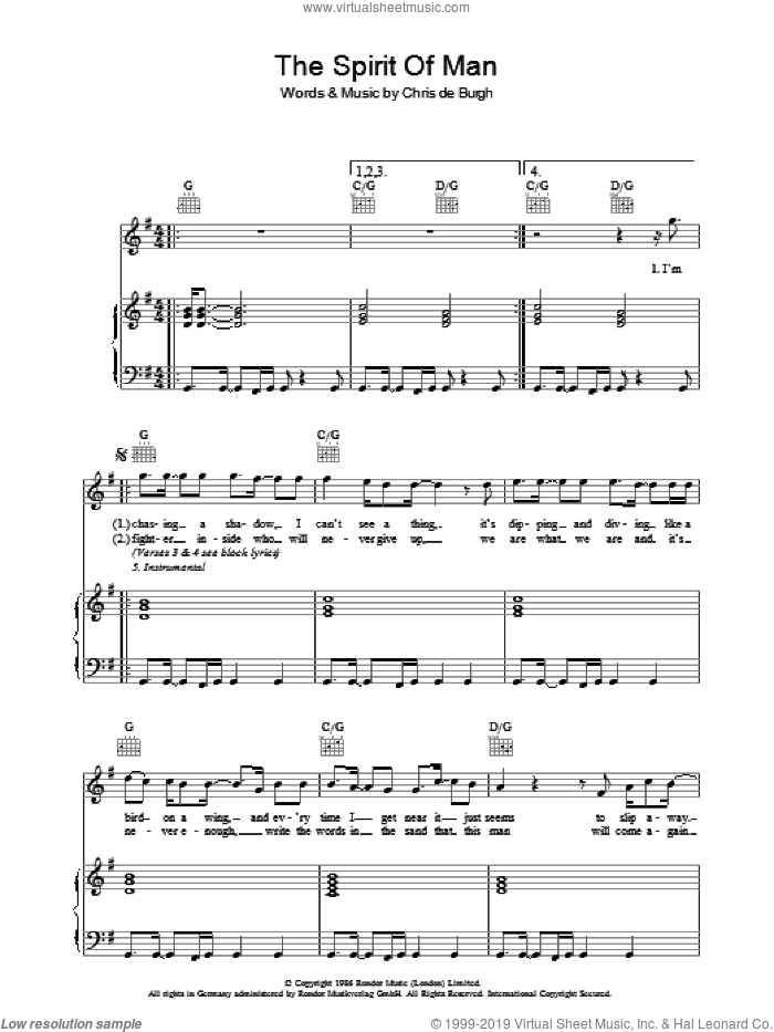 The Spirit Of Man sheet music for voice, piano or guitar by Chris de Burgh, intermediate skill level