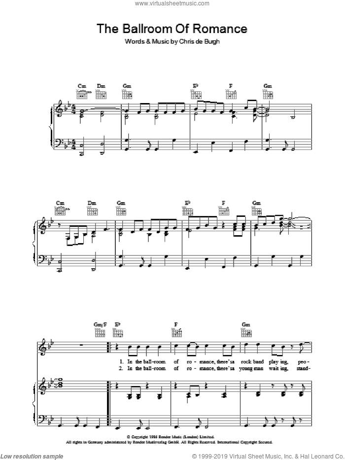The Ballroom Of Romance sheet music for voice, piano or guitar by Chris de Burgh. Score Image Preview.