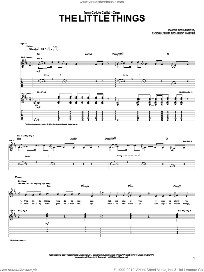 The Little Things sheet music for guitar (tablature) by Jason Reeves and Colbie Caillat. Score Image Preview.