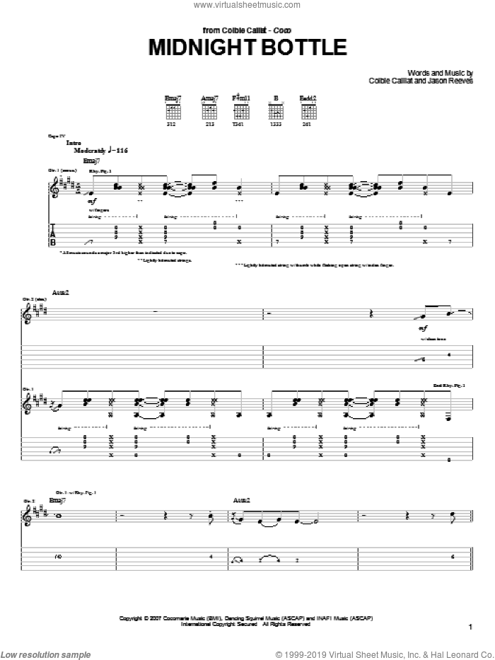 Midnight Bottle sheet music for guitar (tablature) by Jason Reeves and Colbie Caillat. Score Image Preview.