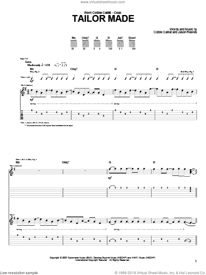 Tailor Made sheet music for guitar (tablature) by Jason Reeves