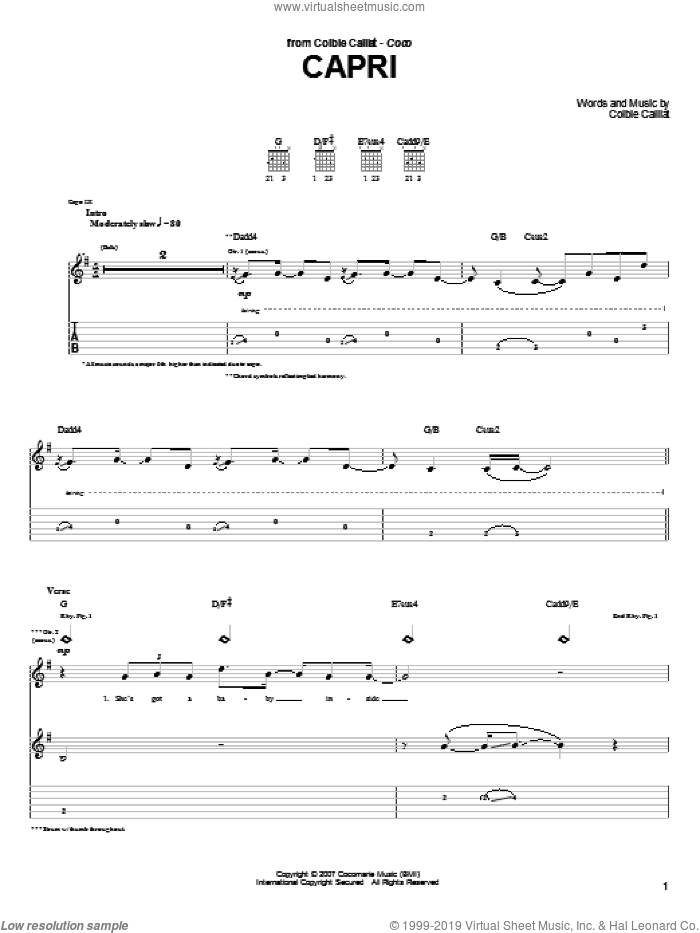 Capri sheet music for guitar (tablature) by Colbie Caillat. Score Image Preview.