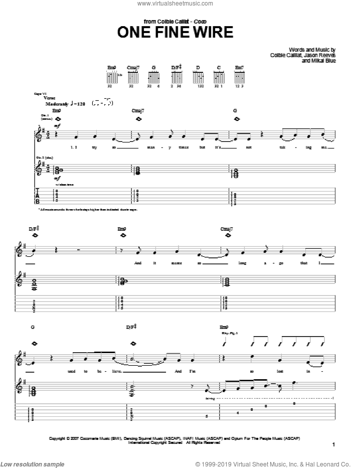 One Fine Wire sheet music for guitar (tablature) by Mikal Blue, Colbie Caillat and Jason Reeves. Score Image Preview.