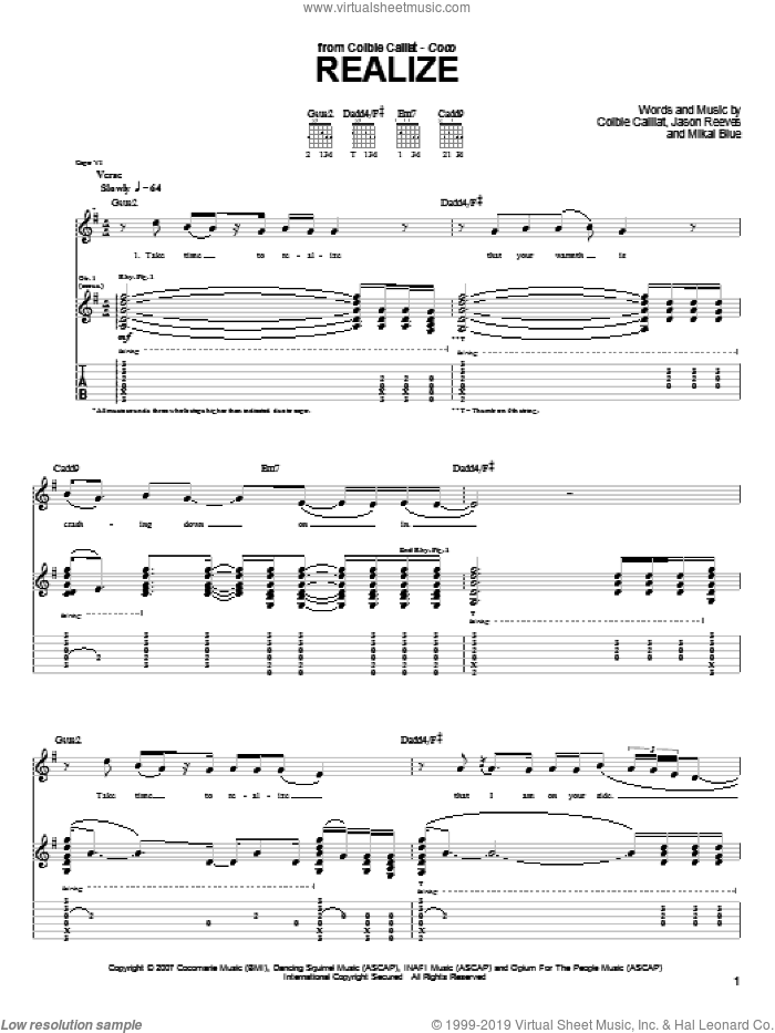 Realize sheet music for guitar (tablature) by Colbie Caillat and Jason Reeves. Score Image Preview.