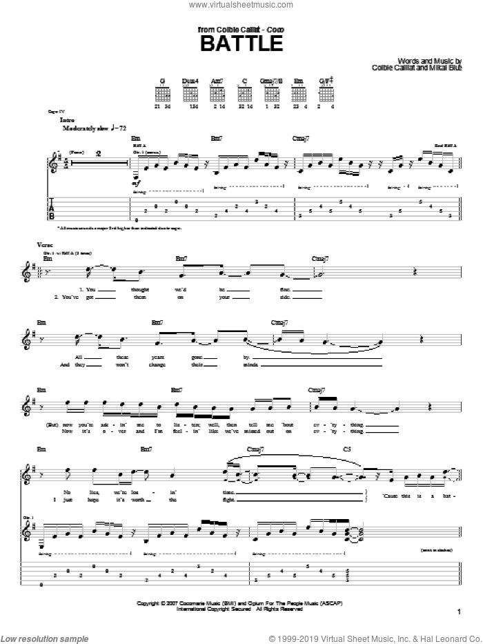 Battle sheet music for guitar (tablature) by Mikal Blue and Colbie Caillat. Score Image Preview.