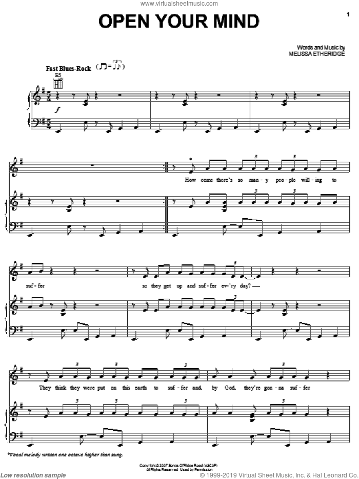 Open Your Mind sheet music for voice, piano or guitar by Melissa Etheridge. Score Image Preview.