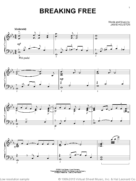Breaking Free sheet music for piano solo by Jamie Houston
