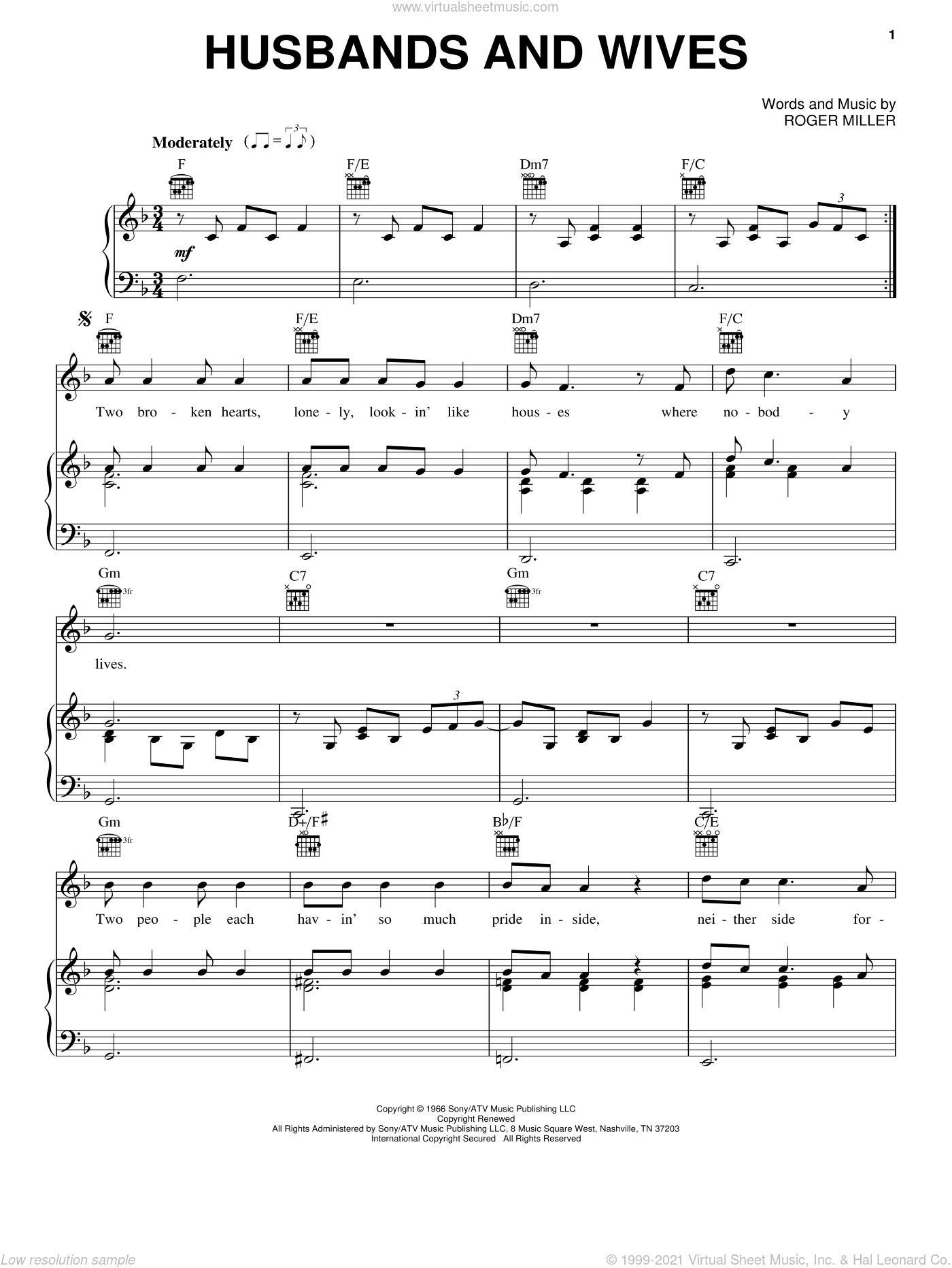 Husbands And Wives sheet music for voice, piano or guitar by Roger Miller and Brooks & Dunn. Score Image Preview.