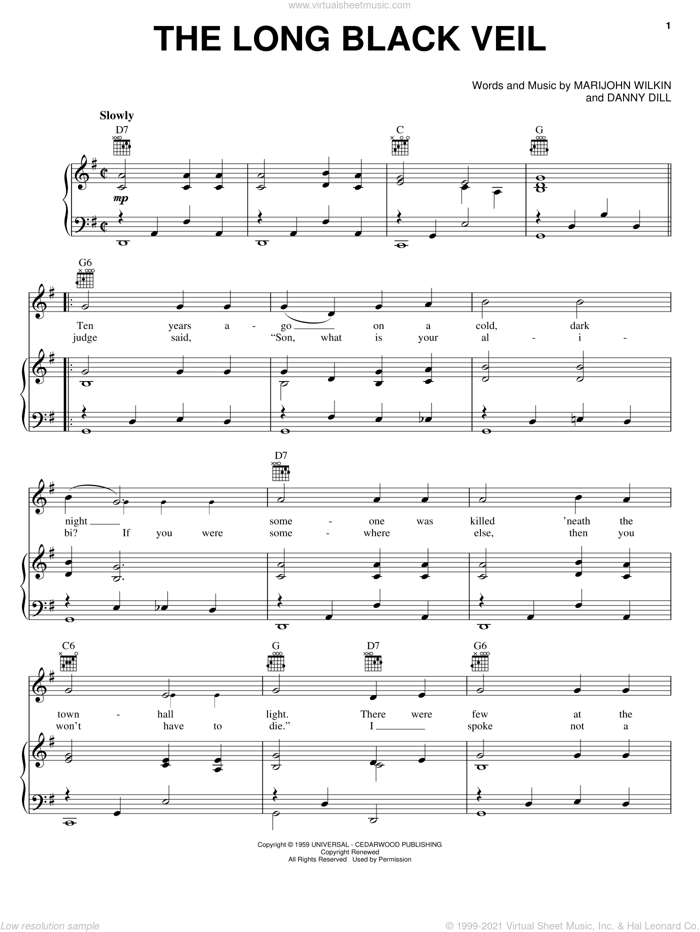 The Long Black Veil sheet music for voice, piano or guitar by Marijohn Wilkin, Johnny Cash, Lefty Frizzell and Danny Dill. Score Image Preview.