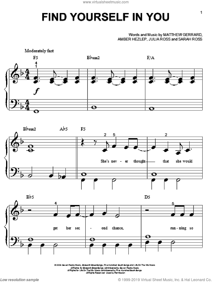 Find Yourself In You sheet music for piano solo (big note book) by Sarah Ross, Everlife, Hannah Montana and Matthew Gerrard. Score Image Preview.