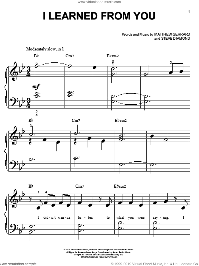I Learned From You sheet music for piano solo (big note book) by Miley Cyrus, Hannah Montana, Matthew Gerrard and Steve Diamond. Score Image Preview.