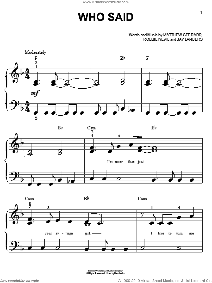 Who Said sheet music for piano solo (big note book) by Robbie Nevil, Hannah Montana, Miley Cyrus, Jay Landers and Matthew Gerrard. Score Image Preview.