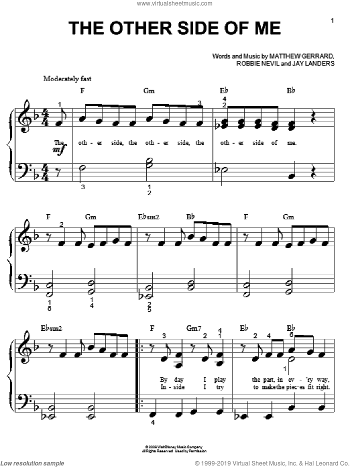 The Other Side Of Me sheet music for piano solo (big note book) by Robbie Nevil, Hannah Montana, Miley Cyrus, Jay Landers and Matthew Gerrard. Score Image Preview.