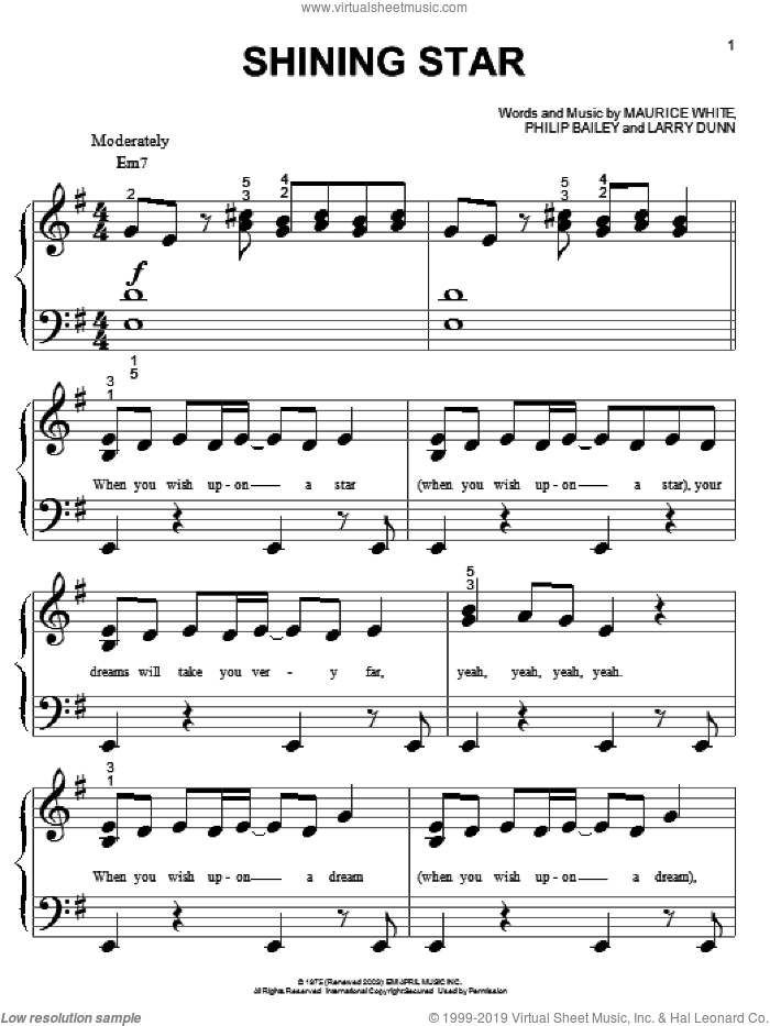Shining Star sheet music for piano solo (big note book) by B Five, Earth, Wind & Fire, Hannah Montana, Yolanda Adams, Larry Dunn, Maurice White and Philip Bailey, easy piano (big note book)