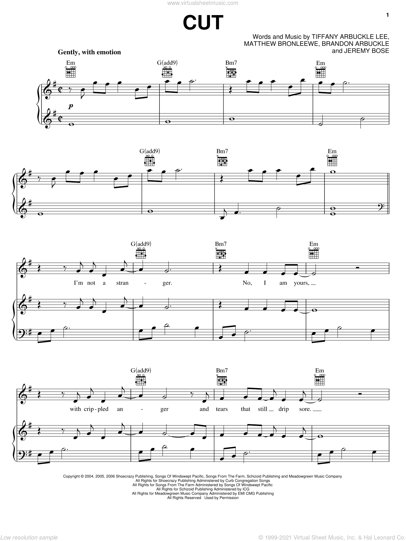 Cut sheet music for voice, piano or guitar by Tiffany Arbuckle, Jeremy Bose and Matt Bronleewe