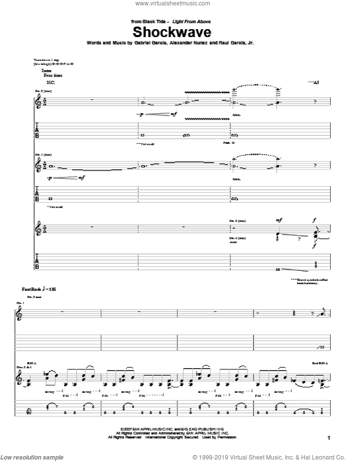 Shockwave sheet music for guitar (tablature) by Raul Garcia, Jr.. Score Image Preview.