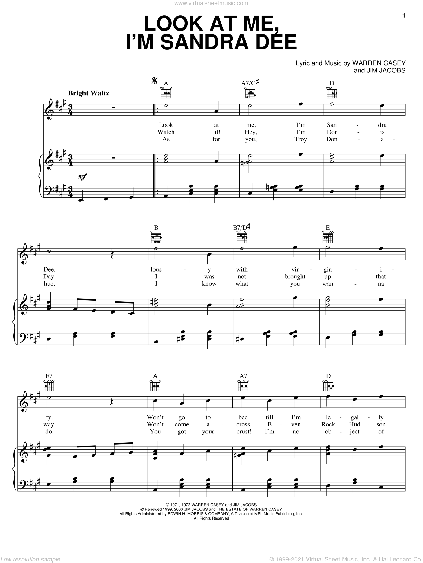 Look At Me, I'm Sandra Dee (from Grease) sheet music for voice, piano or guitar by Stockard Channing, Grease (Musical), Jim Jacobs and Warren Casey, intermediate skill level
