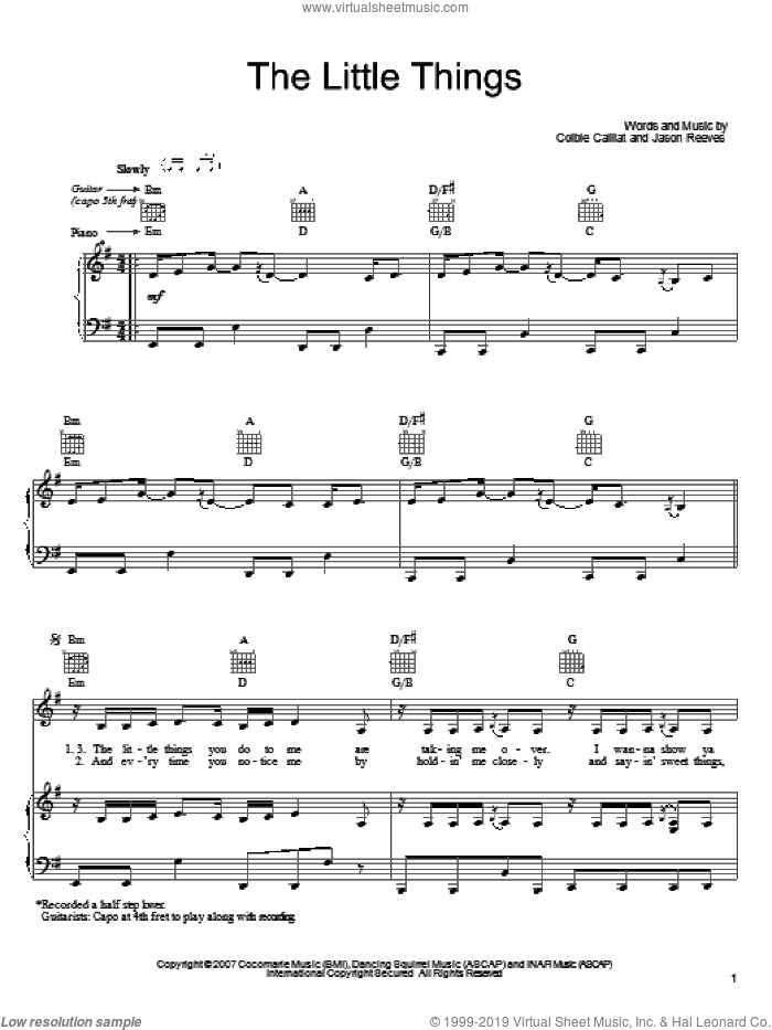The Little Things sheet music for voice, piano or guitar by Colbie Caillat and Jason Reeves, intermediate. Score Image Preview.