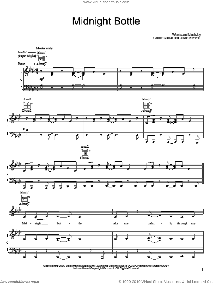 Midnight Bottle sheet music for voice, piano or guitar by Colbie Caillat and Jason Reeves, intermediate skill level