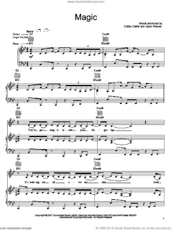 Magic sheet music for voice, piano or guitar by Jason Reeves and Colbie Caillat. Score Image Preview.