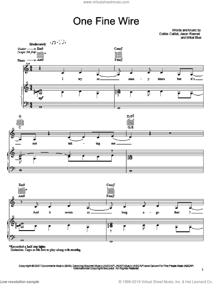 One Fine Wire sheet music for voice, piano or guitar by Colbie Caillat, Jason Reeves and Mikal Blue, intermediate skill level