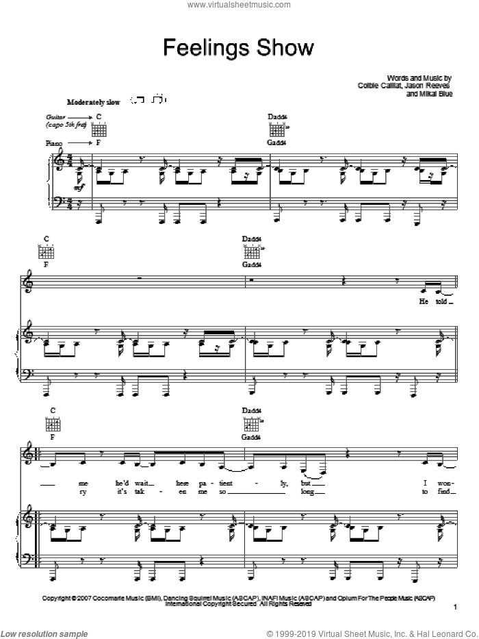 Feelings Show sheet music for voice, piano or guitar by Mikal Blue, Colbie Caillat and Jason Reeves. Score Image Preview.