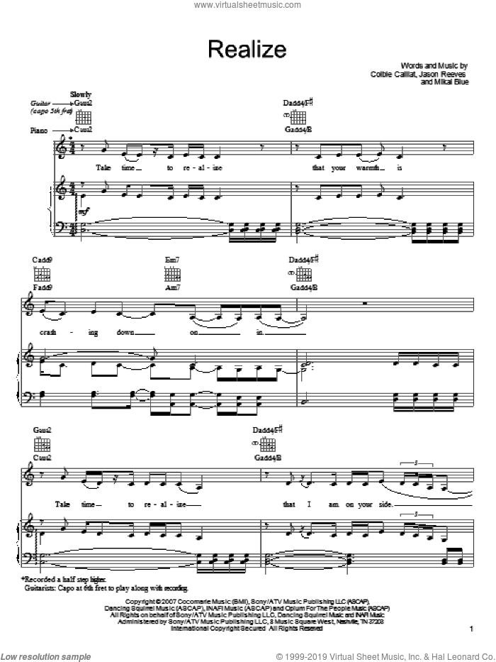 Realize sheet music for voice, piano or guitar by Colbie Caillat and Jason Reeves, wedding score, intermediate. Score Image Preview.