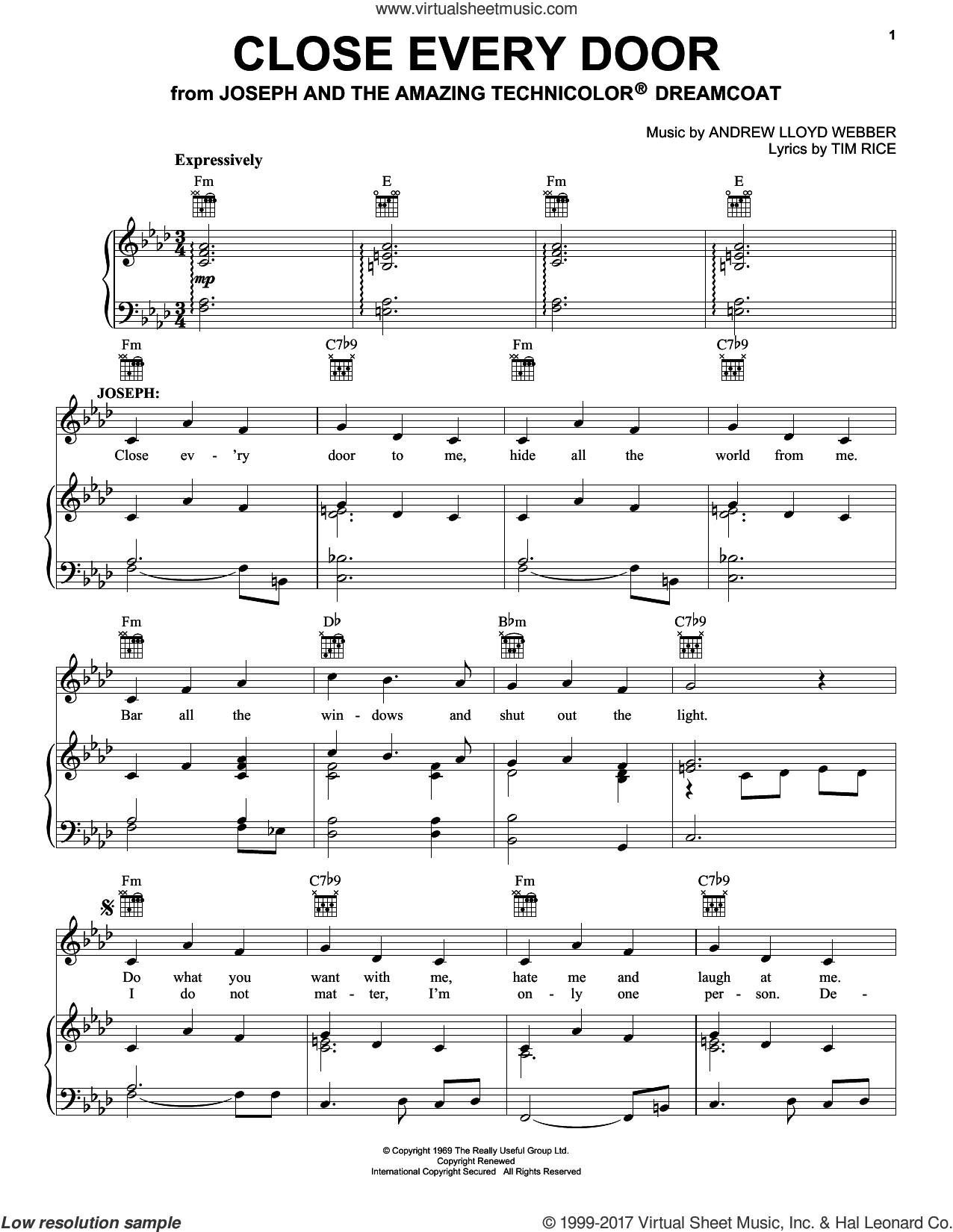 Close Every Door sheet music for voice, piano or guitar by Andrew Lloyd Webber, Joseph And The Amazing Technicolor Dreamcoat (Musical) and Tim Rice, intermediate skill level