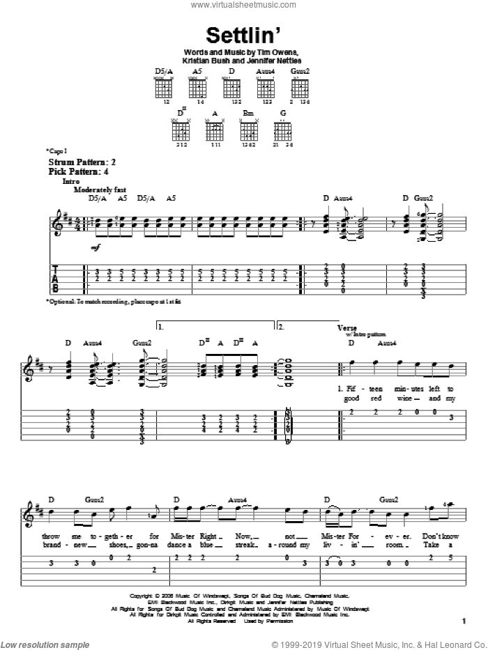 Settlin' sheet music for guitar solo (easy tablature) by Tim Owens, Sugarland, Jennifer Nettles and Kristian Bush