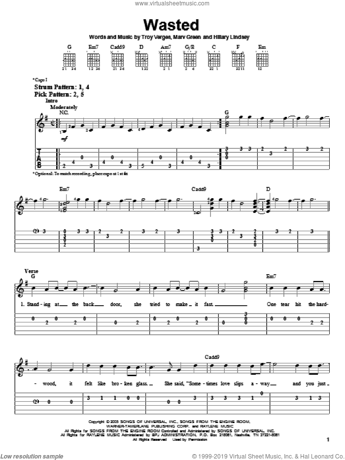 Wasted sheet music for guitar solo (easy tablature) by Carrie Underwood, Hillary Lindsey, Marv Green and Troy Verges, easy guitar (easy tablature)
