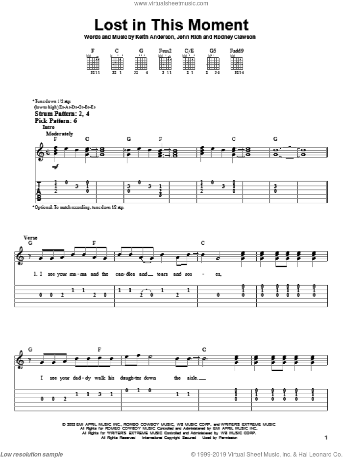 Lost In This Moment sheet music for guitar solo (easy tablature) by Rodney Clawson