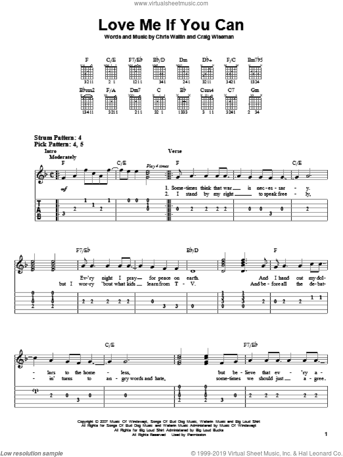 Love Me If You Can sheet music for guitar solo (easy tablature) by Craig Wiseman, Toby Keith and Chris Wallin. Score Image Preview.