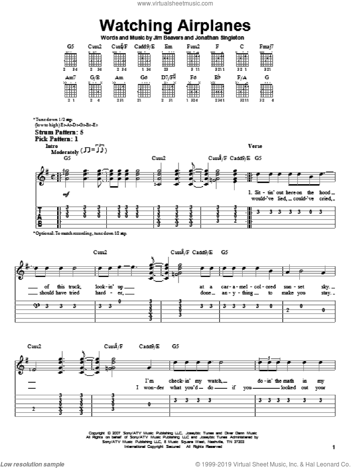 Watching Airplanes sheet music for guitar solo (easy tablature) by Gary Allan, Jim Beavers and Jonathan Singleton, easy guitar (easy tablature)