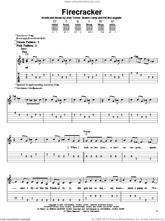 Firecracker sheet music for guitar solo (easy tablature) by Shawn Camp, Josh Turner and Pat McLaughlin. Score Image Preview.