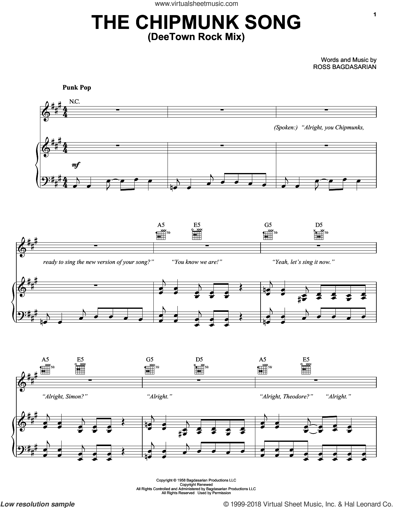 The Chipmunk Song (DeeTown Rock Mix) sheet music for voice, piano or guitar by Alvin And The Chipmunks, Alvin And The Chipmunks (Movie) and Ross Bagdasarian, intermediate skill level