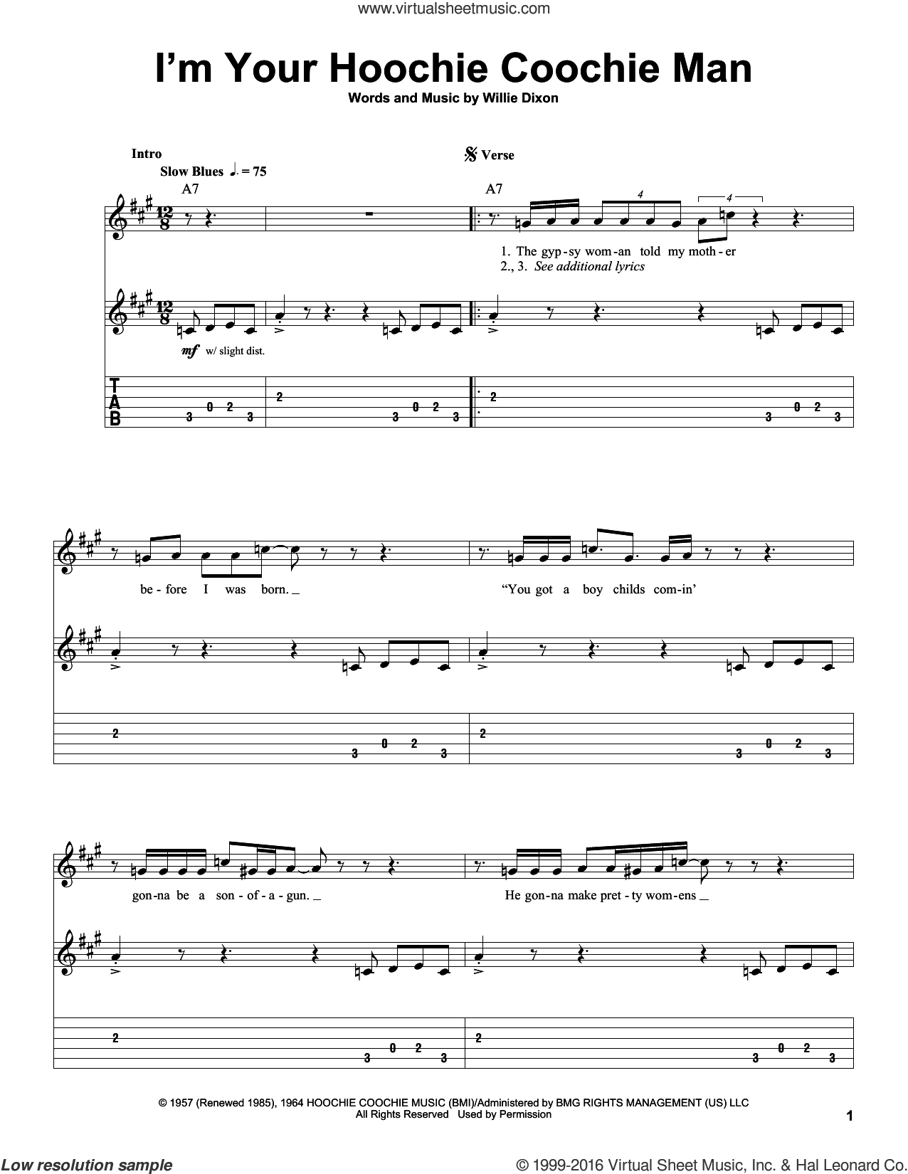 I'm Your Hoochie Coochie Man sheet music for guitar (tablature, play-along) by Jimi Hendrix, Allman Brothers Band, Muddy Waters and Willie Dixon, intermediate skill level