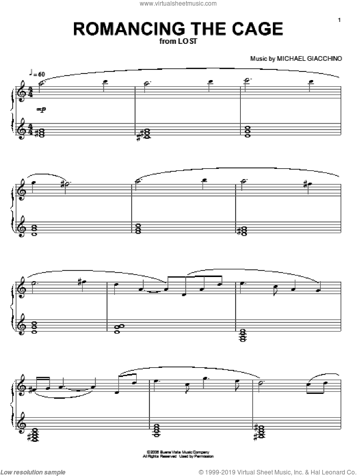 Romancing The Cage sheet music for piano solo by Michael Giacchino and Lost (TV Series), intermediate skill level