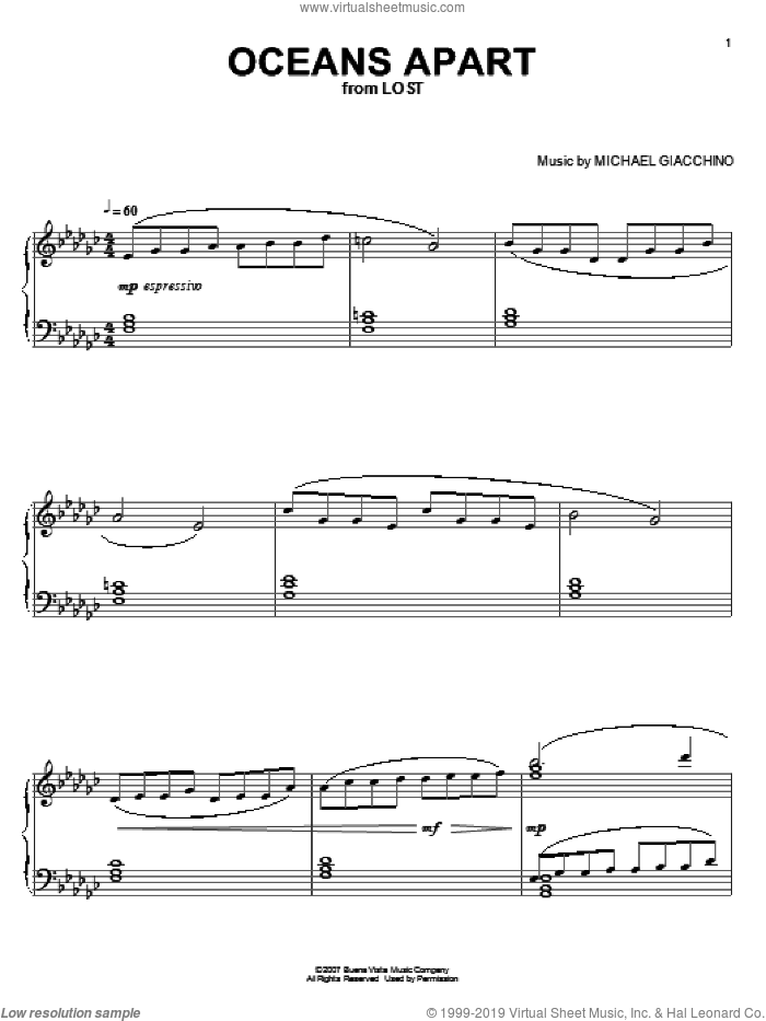 Oceans Apart sheet music for piano solo by Michael Giacchino, intermediate. Score Image Preview.