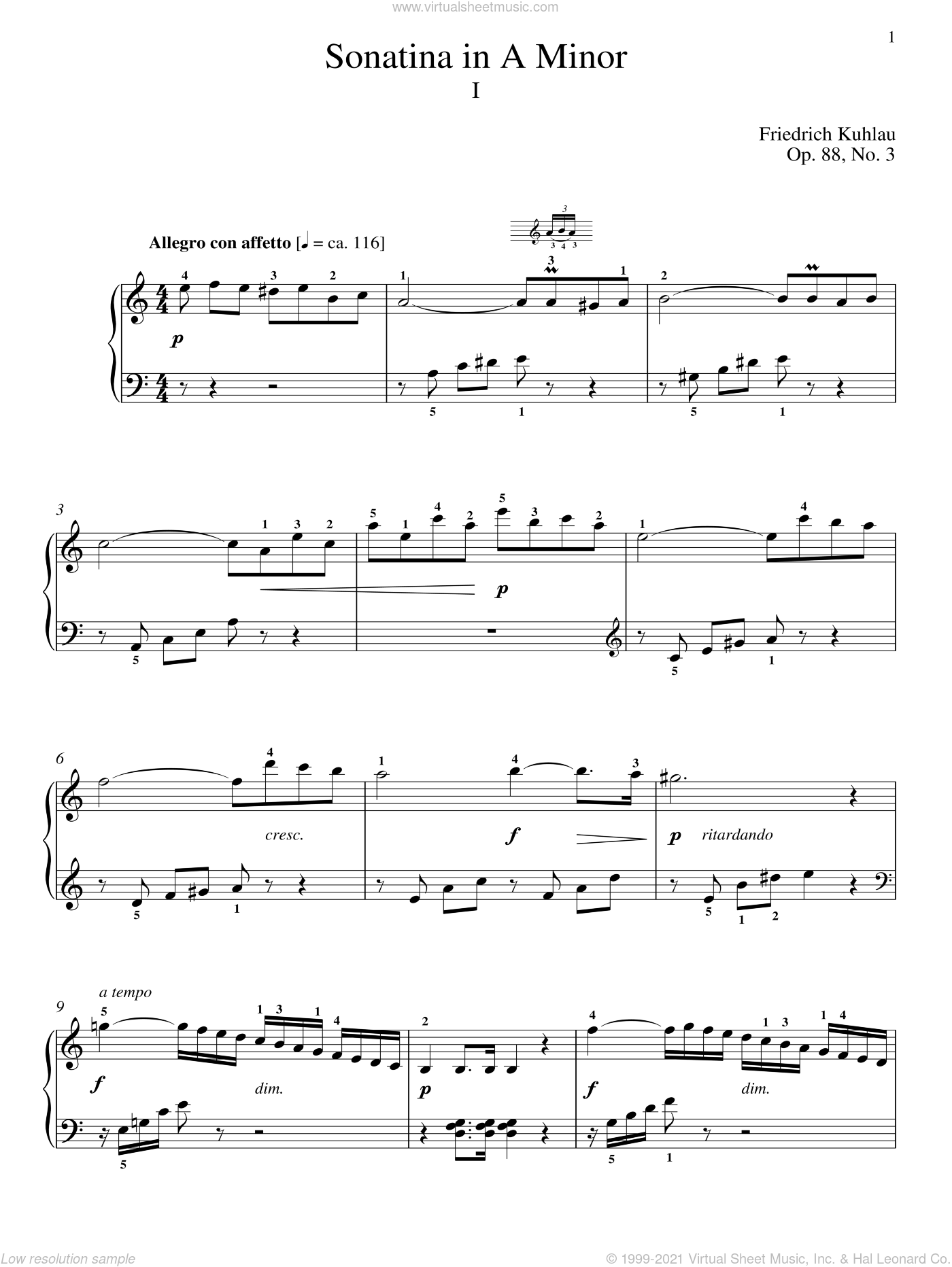 Sonatina In A Minor, Op. 88, No. 3 sheet music for piano solo by Friedrich Daniel Rudolf Kuhlau