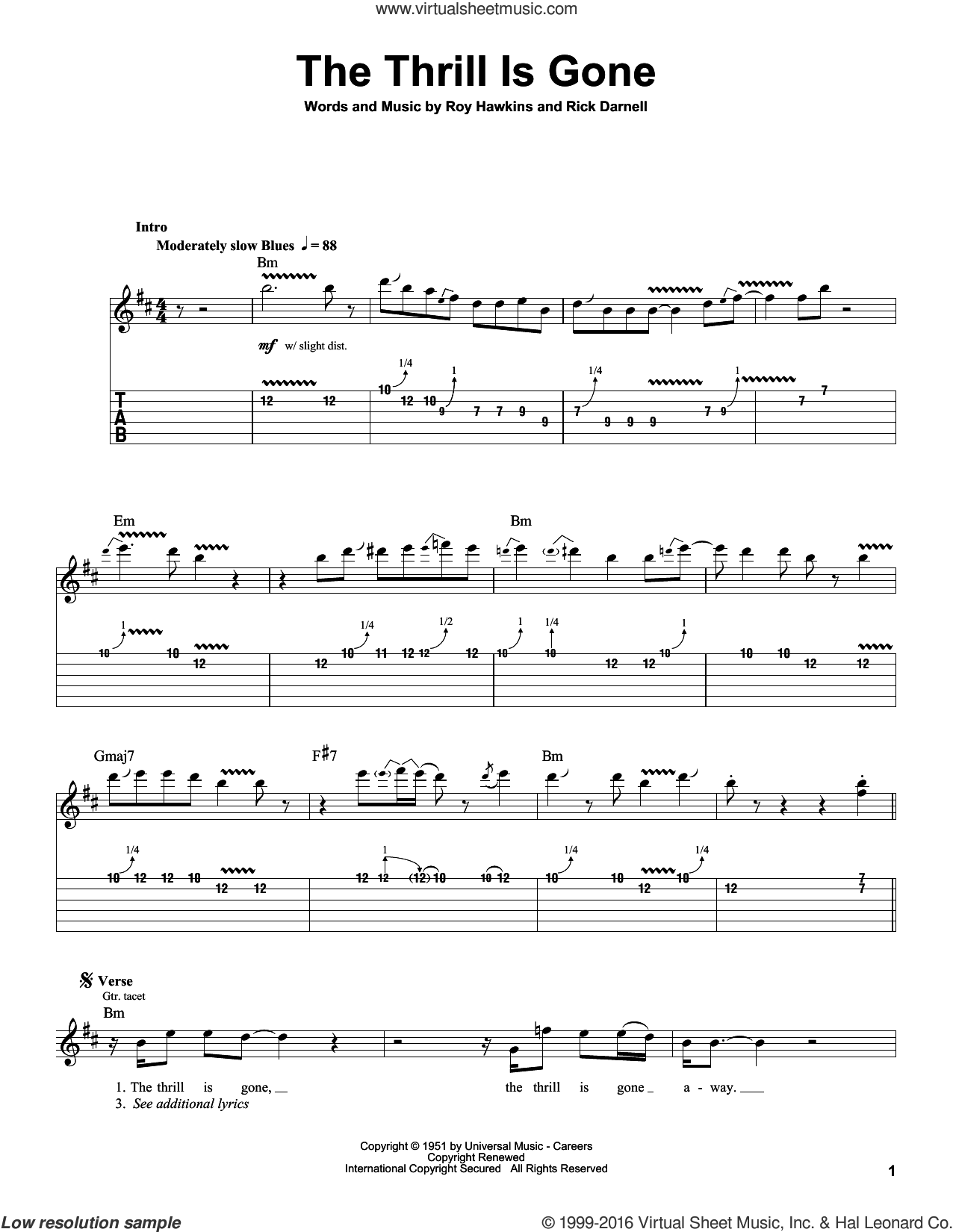 The Thrill Is Gone sheet music for guitar (tablature, play-along) by B.B. King, Rick Darnell and Roy Hawkins, intermediate. Score Image Preview.