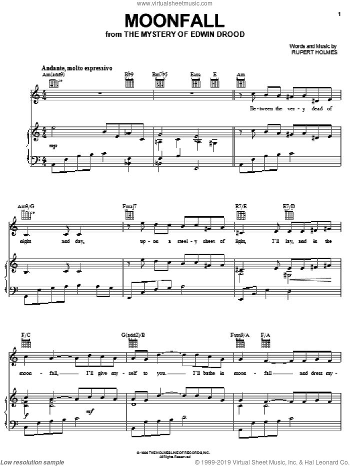 Moonfall sheet music for voice, piano or guitar by Rupert Holmes and The Mystery Of Edwin Drood (Musical), intermediate skill level