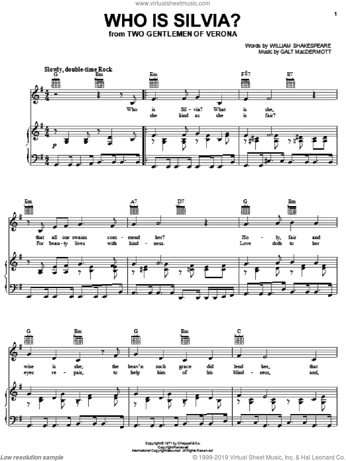 Who Is Silvia? sheet music for voice, piano or guitar by Galt MacDermot and William Shakespeare. Score Image Preview.