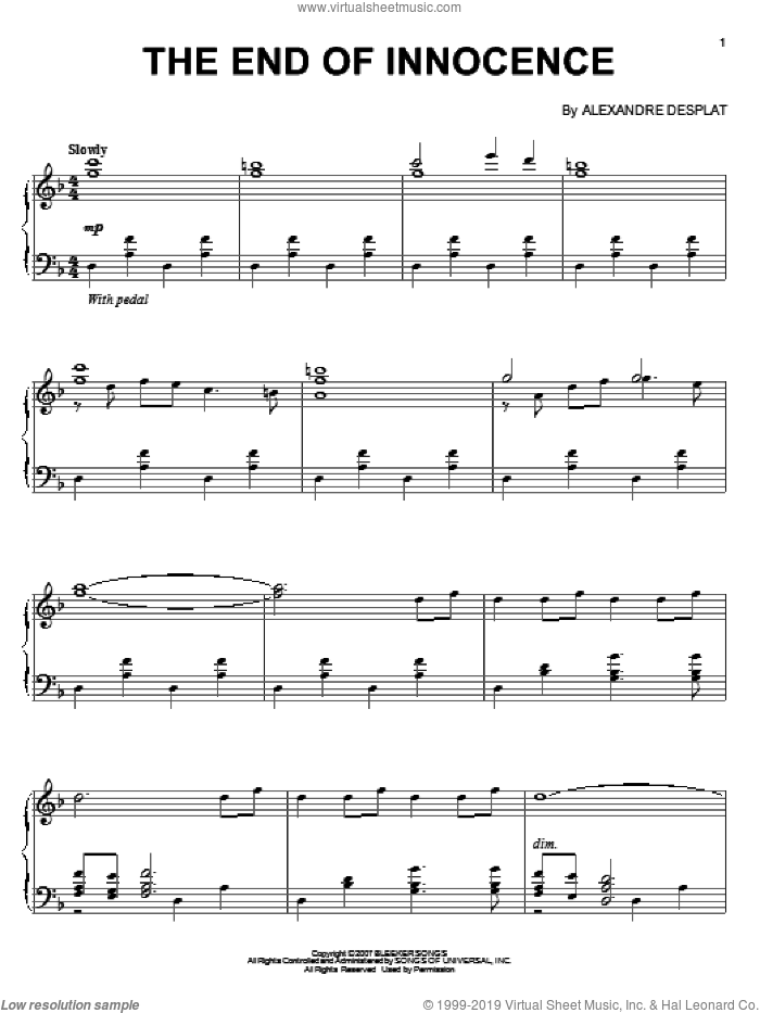 The End Of Innocence sheet music for piano solo by Alexandre Desplat. Score Image Preview.
