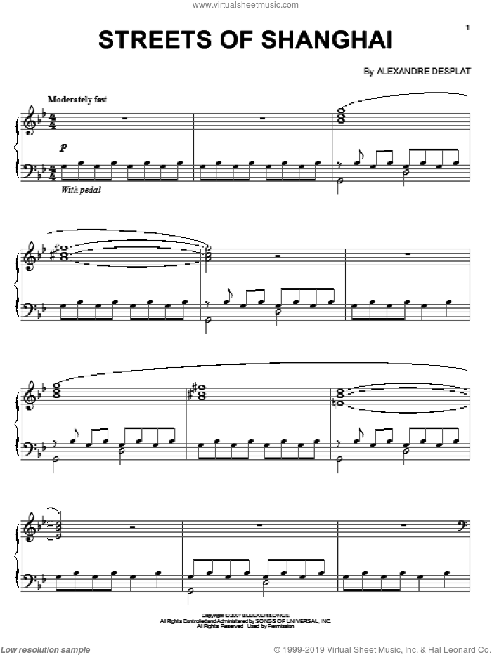 Streets Of Shanghai sheet music for piano solo by Alexandre Desplat, intermediate piano. Score Image Preview.